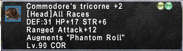 Commodore Tricorne +2